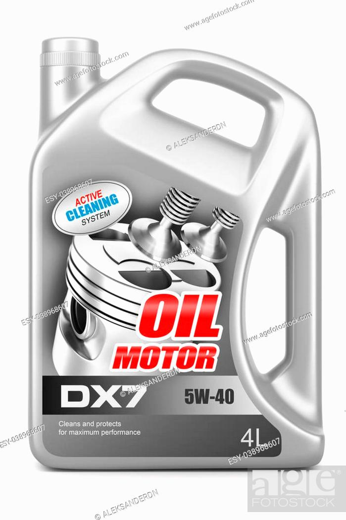 Stock Photo: Canister motor oil isolated on white background.