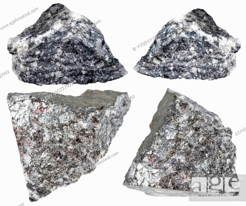 Stock Photo: set of various natural mineral stones - stibnite (antimonite, antimony ore) rocks isolated on white background.