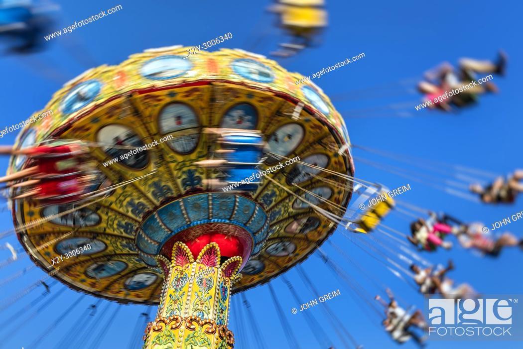 Stock Photo: Blurred carousel ride at an amusement park, Atlantic City, New Jersey, USA.