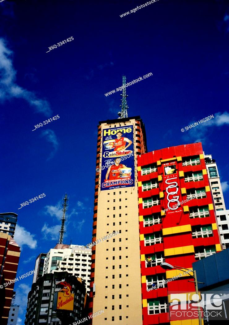 Stock Photo: Manila skyline in Makati in Manila in Luzon Metro Manila in the Philippines in Southeast Asia Far East.