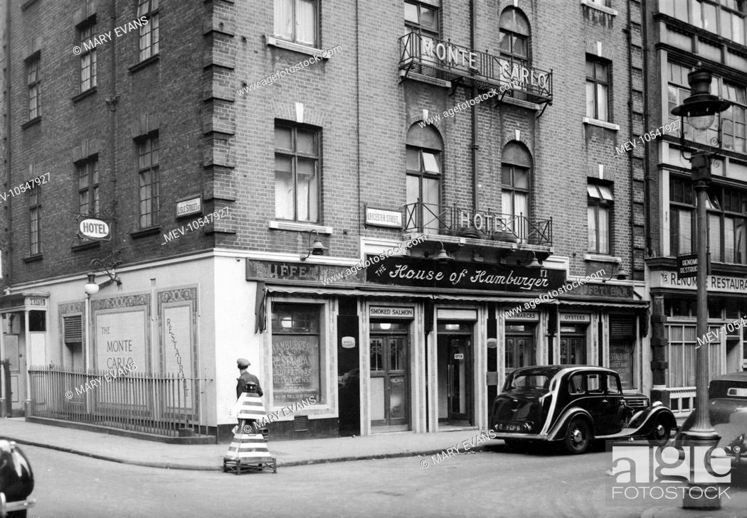 Stock Photo: The corner of Lisle Street and Leicester Street, central London (near Leicester Square) : the Monte Carlo Hotel and the House of Hamburger restaurant.