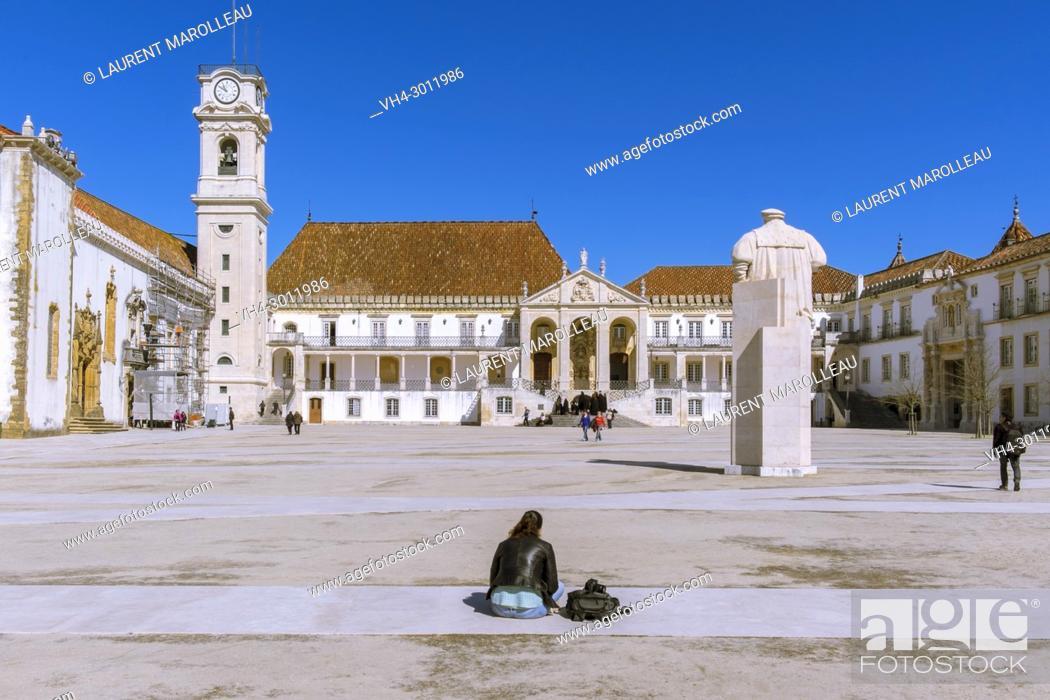 Stock Photo: The Courtyard of the Ancient University of Coimbra, Alta Area, Baixo Mondego, Centro Region, Portugal, Europe.