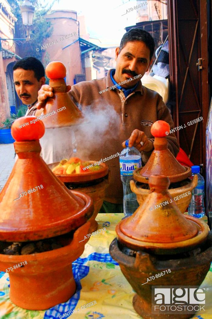 Stock Photo: Tajinne of pots for traditional vegetables - meat pot Morocco.
