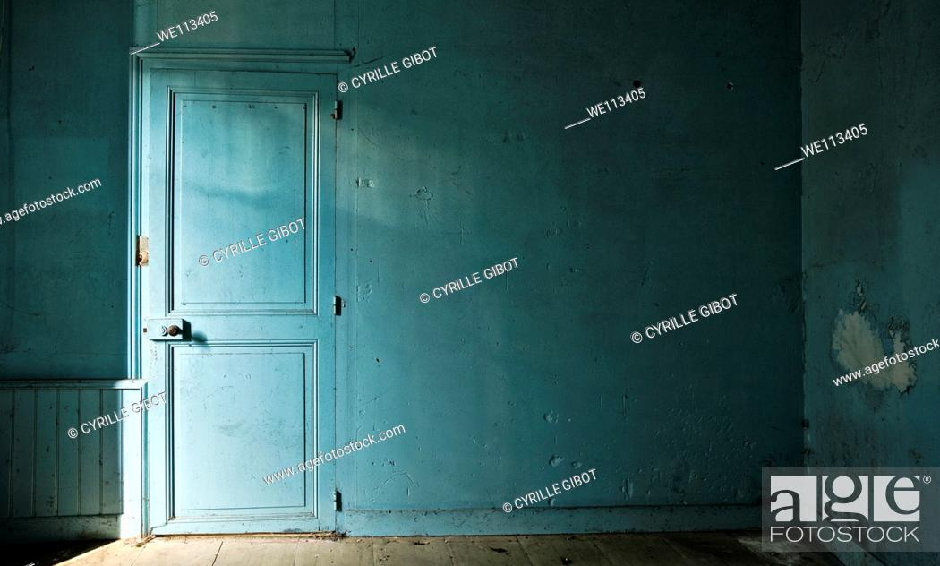 Stock Photo: Blue room in abandoned house.