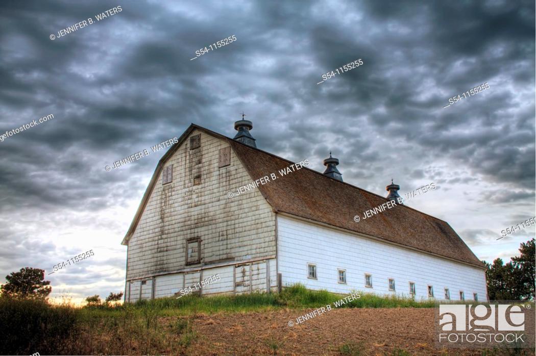Stock Photo: An old white barn near Rosalia, Washington in the Palouse.