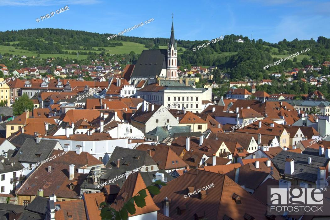 Stock Photo: Looking out from the castle over the town of Cesky Krumlov, Czech Republic.