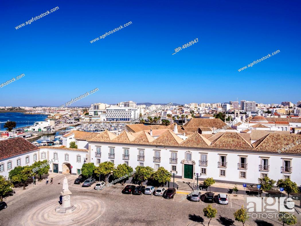 Stock Photo: Episcopal Palace and Largo da Se, elevated view, Faro, Algarve, Portugal.