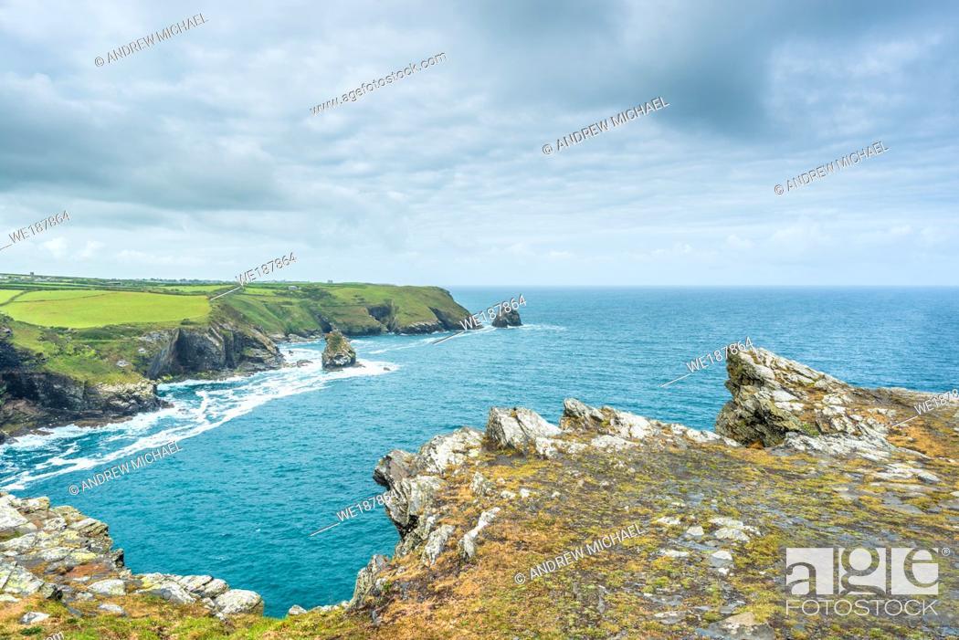 Stock Photo: Coastal views from Willapark Lookout near Boscastle on the Atlantic coast of Cornwall, England, UK.