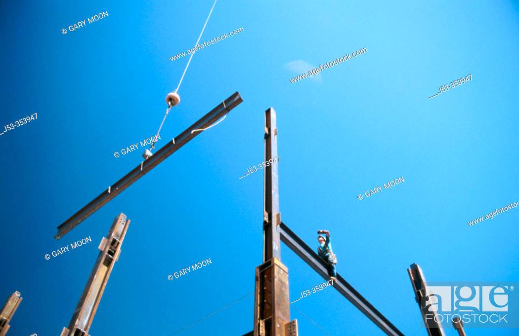 Stock Photo: Hanging structural steel. Sacramento, California. USA.