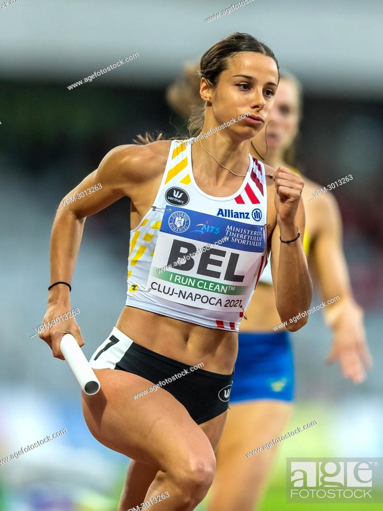 Stock Photo: Belgian Camille Laus pictured in action during the women's 4x400m relay, at the second day of the European Athletics Team Championships First League athletics.