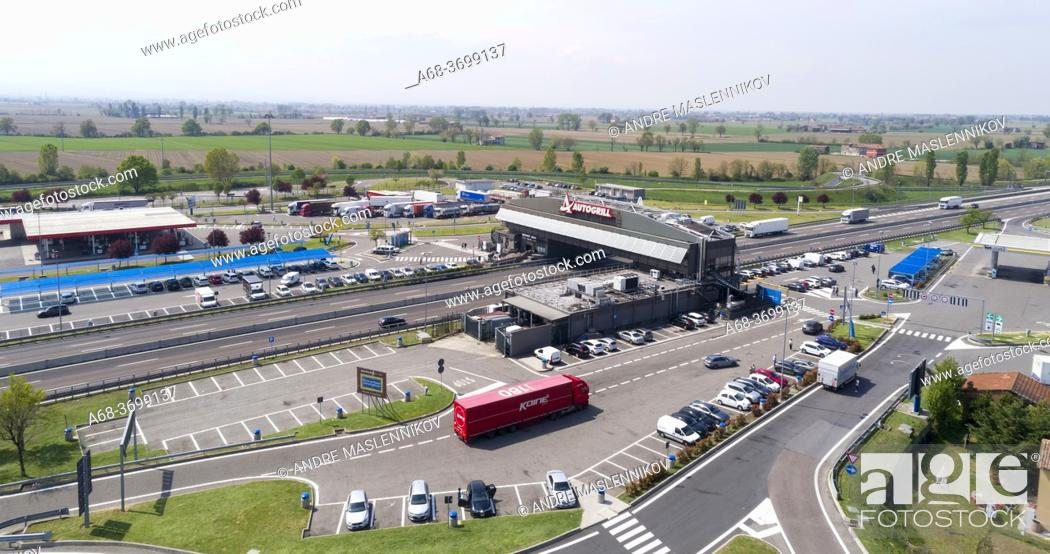 Stock Photo: Autogrill Arda, Bistrot Fiorenzuola Arda, truck stop and restaurant at A1 - Autostrada del Sole, 29017 Fiorenzuola d'Arda PC, Italy.