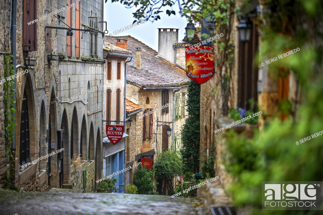 Stock Photo: Medieval town of Cordes sur Ciel, labelled The Most Beautiful Villages of France, Tarn, Occitanie, France.
