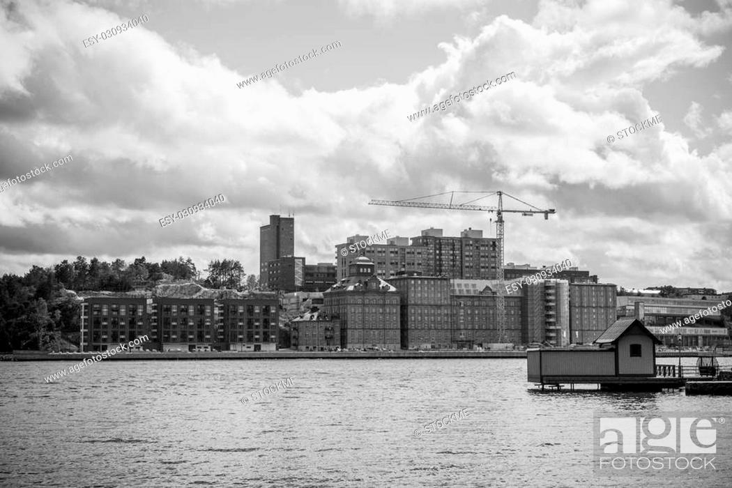 Stock Photo: Black and white photo of Stockholm docks.