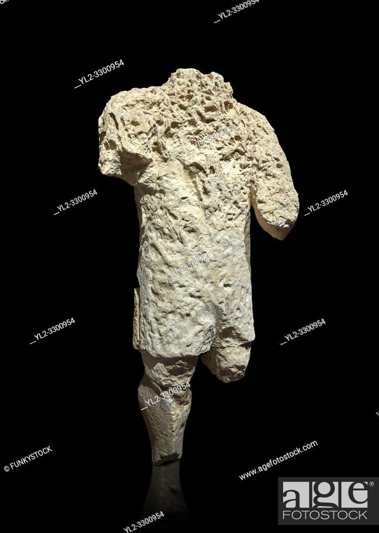 Stock Photo: 9th century BC Giants of Mont'e Prama Nuragic stone statue, Mont'e Prama archaeological site, Cabras. 2014 excavation. Civico Museo Archeologico Giovanni.