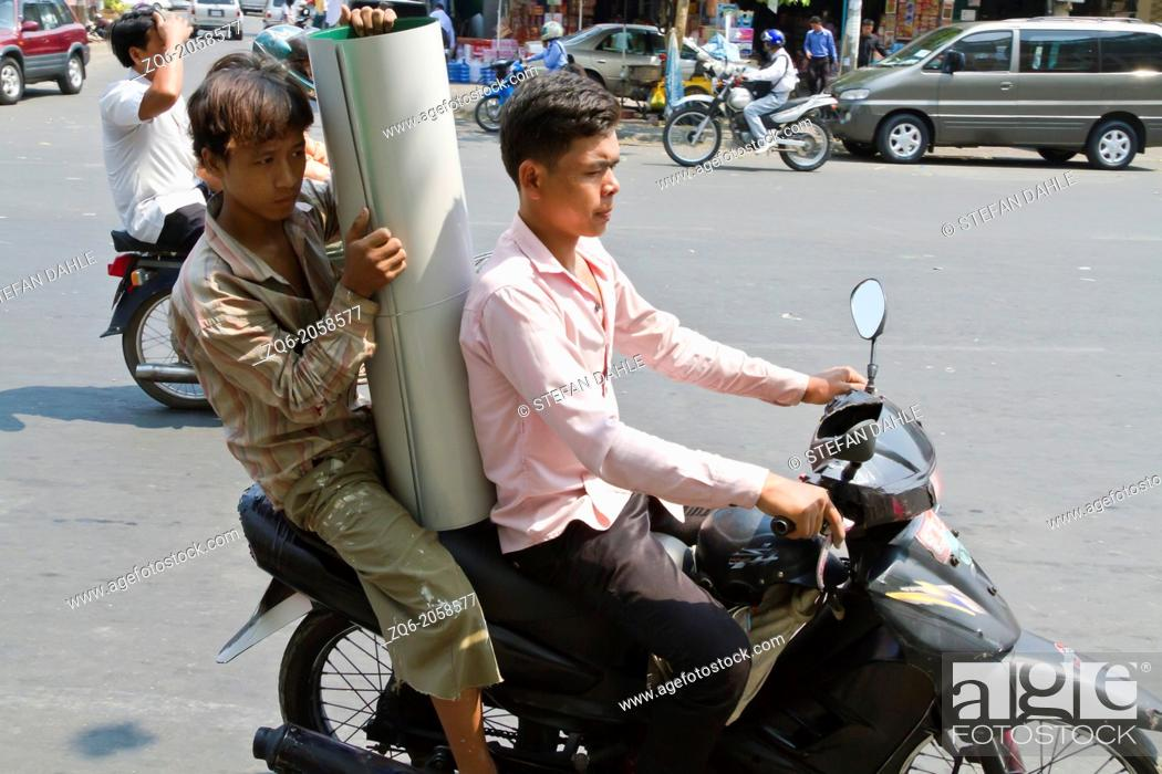 Stock Photo: Typical Transportaion of Goods in Phnom Penh, Cambodia.