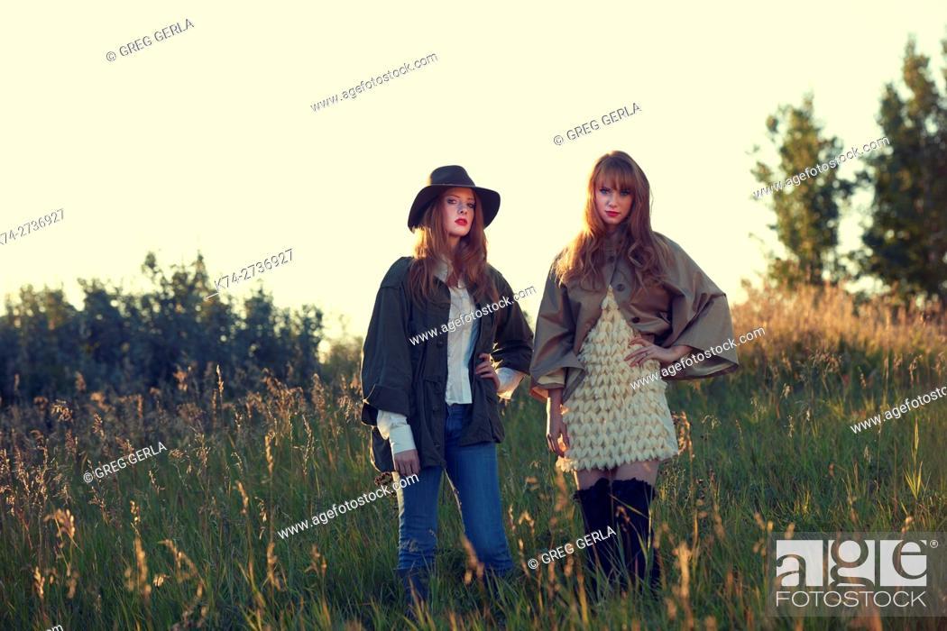 Stock Photo: fashion image of young women.