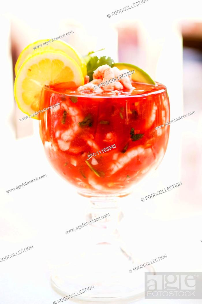 Stock Photo: Mexican Style Shrimp Cocktail in a Glass Stem Bowl.