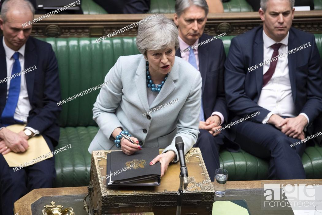 Stock Photo: (190325) -- LONDON, March 25, 2019 (Xinhua) -- British Prime Minister Theresa May (Front) is seen during the Prime Minister's statement in the House of Commons.