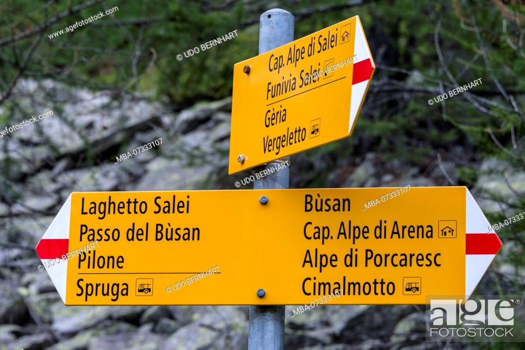 Stock Photo: Hiking signs to the Salei mountain lake and Busan pass, Onsernone Valley, near Locarno, near Lake Maggiore, Ticino, Switzerland.