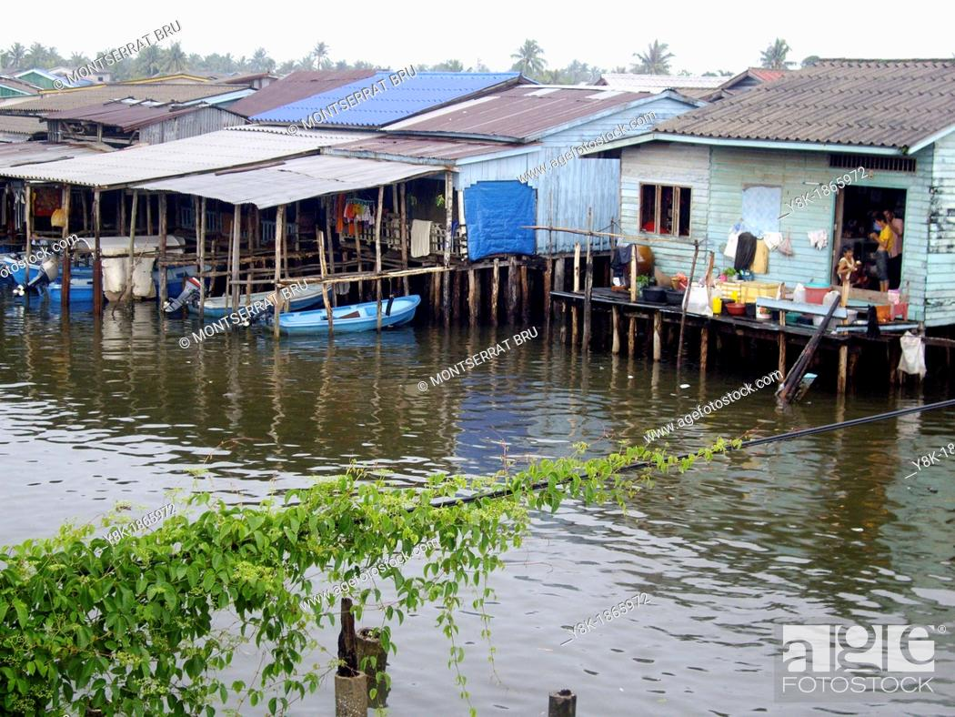 Stock Photo: Houses on stilts at Koh Kong, Cambodia.