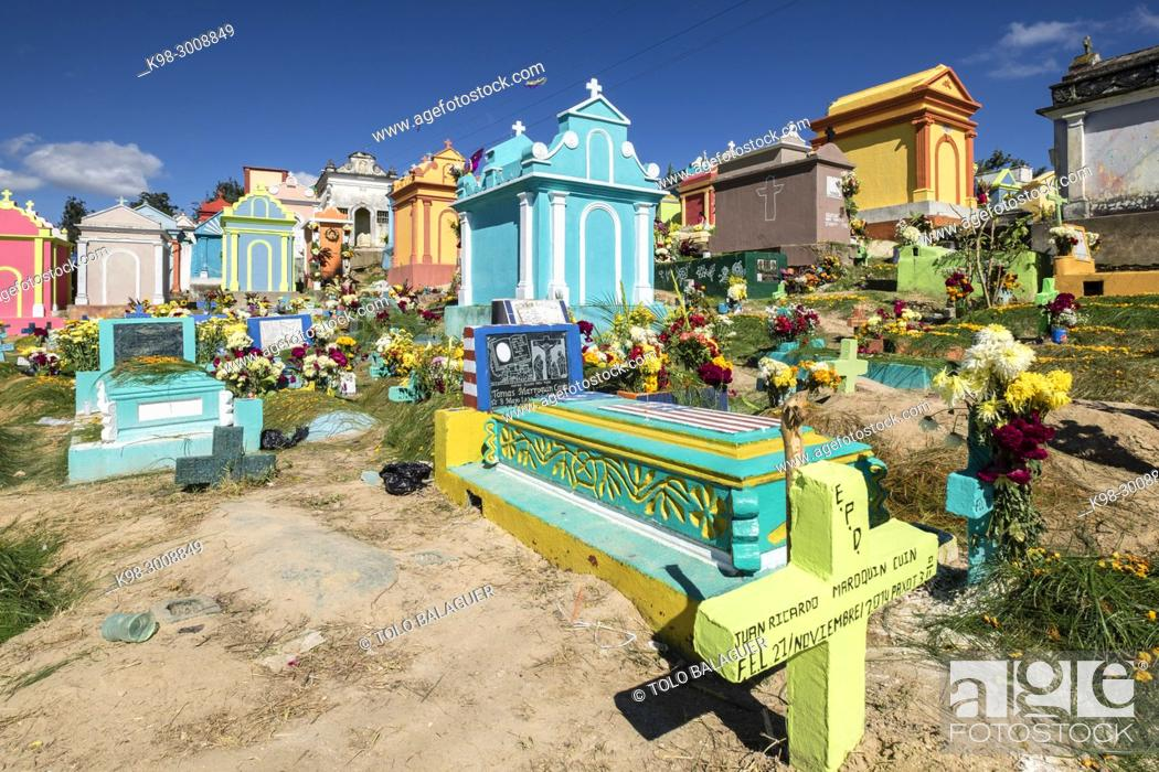 Stock Photo: Colorful tombs, celebration of the day of the dead in Cementerio General, Santo Tomas Chichicastenango, Republic of Guatemala.