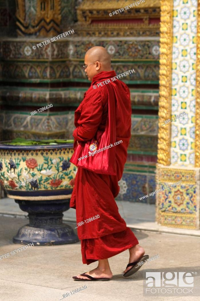 Buddhist Monk Wearing Red Robes Royal Temple Of Wat Phra Kaeo Bangkok Thailand Asia Stock Photo Picture And Rights Managed Image Pic Ibr 1286630 Agefotostock