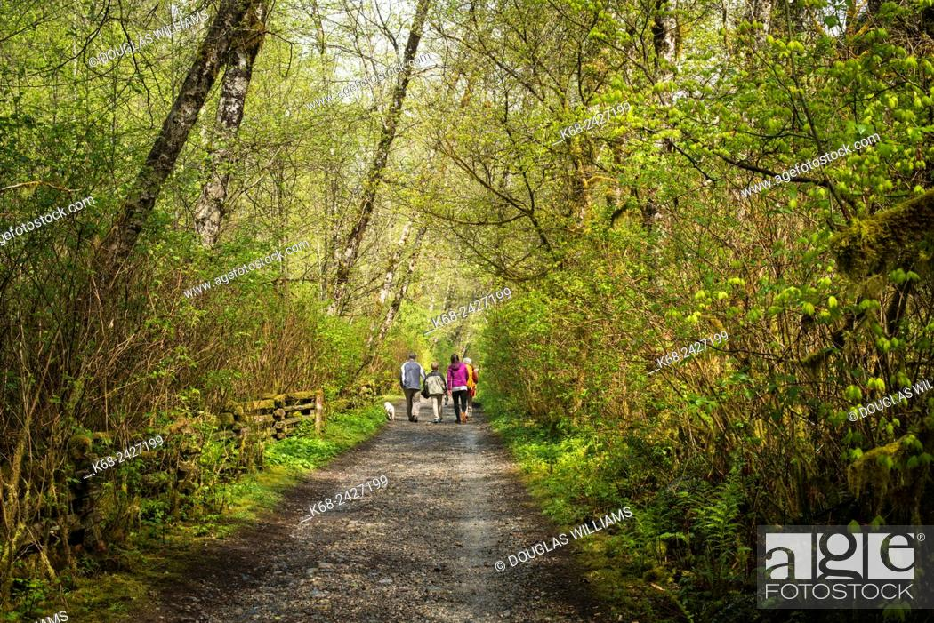 Stock Photo: A family of hikers near on Fisherman's Trail by the Seymour River in North Vancouver, BC, Canada.