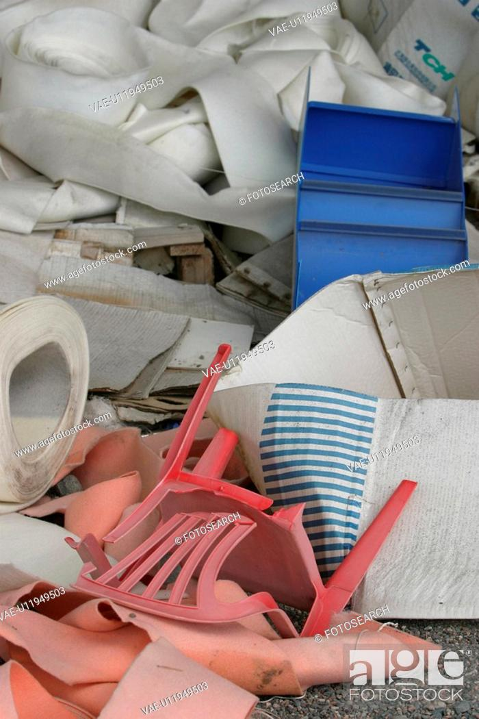 Stock Photo: store, chair, trash, waste, heap, garbage.
