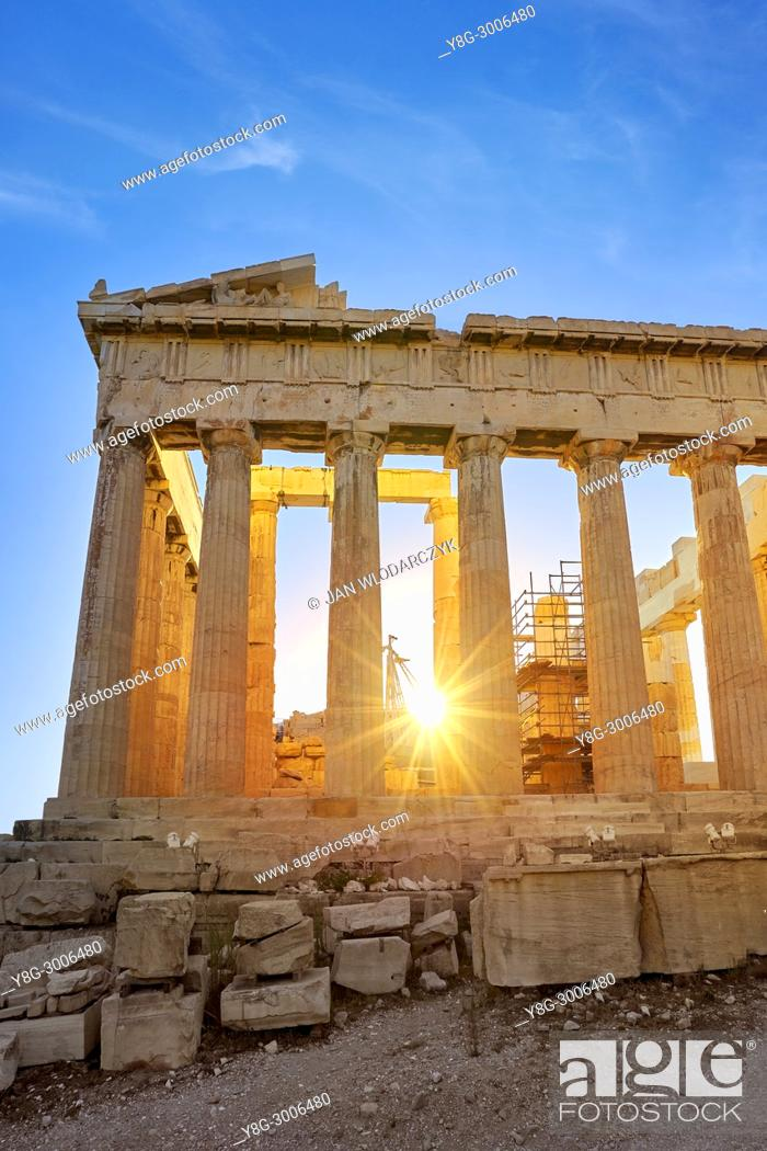 Stock Photo: Parthenon at sunset time, Acropolis, Athens, Greece.