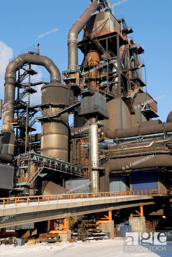 Stock Photo: Blast furnace which turns coal into coke at SSAB Swedish Steel AB sheet steel in Luleå, it all starts with cooking imported coal to make coke in the coking.