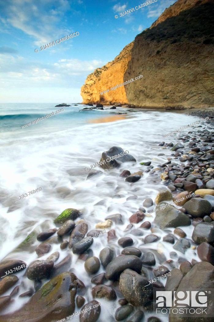 Stock Photo: Cliffs at sunrise. Cabo de Gata-Nijar Biosphere Reserve, Almeria province, Andalucia, Spain.