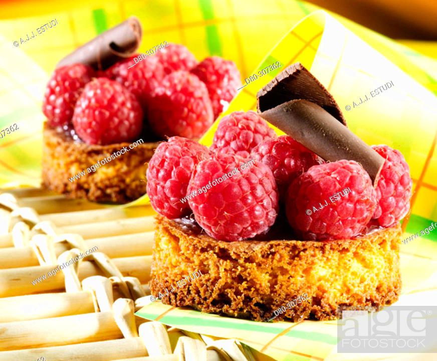 Stock Photo: Raspberry pies.