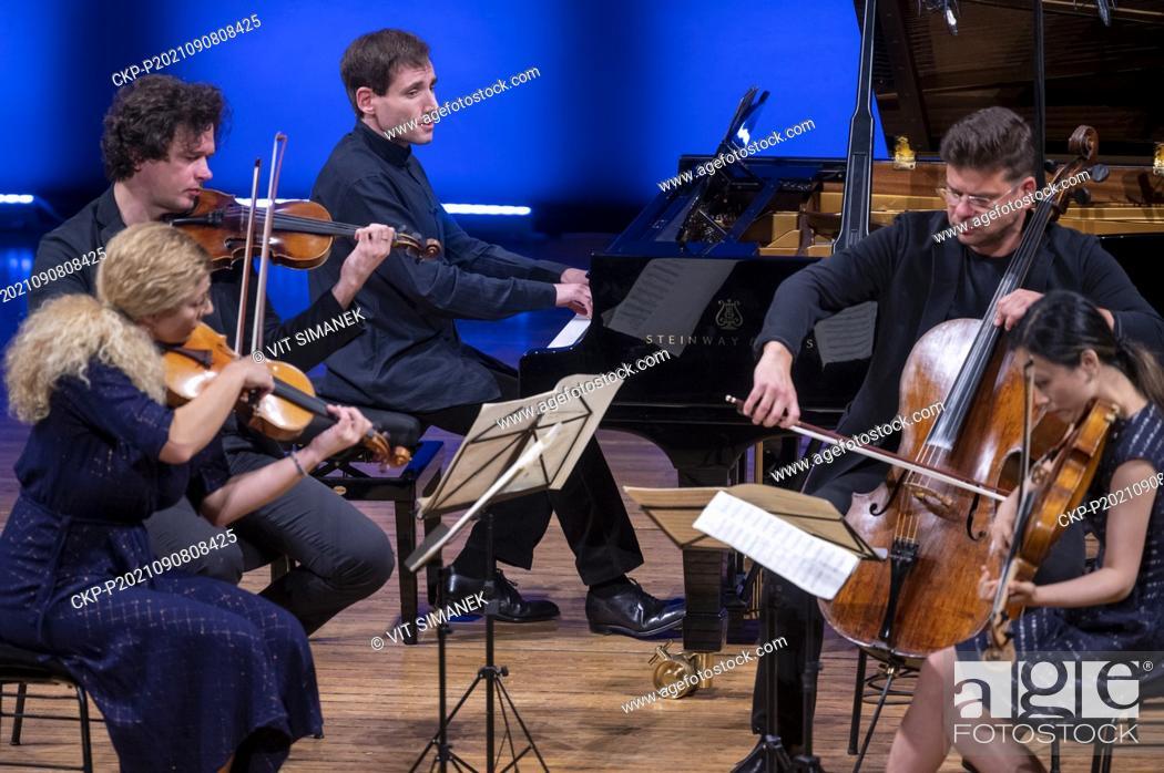 Stock Photo: Concert of Pavel Haas Quartet and Israeli classical pianist Boris Giltburg during the Dvorak Prague International music Festival at Rudolfinum, in Prague.