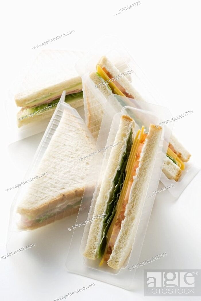 Stock Photo: Ham and cheese sandwiches.