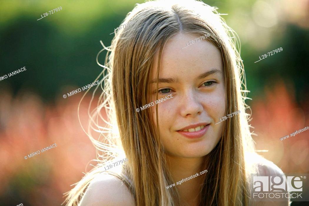 Stock Photo: girl enjoying outdoor.