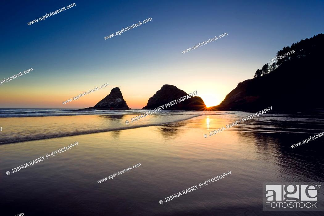 Stock Photo: Heceta Head Beach located on the beautiful Oregon Coast at sunset on a clear Summer evening near dusk.