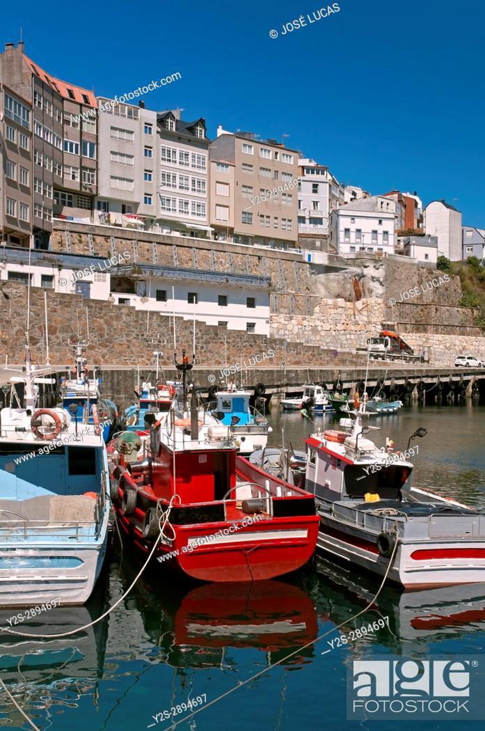 Stock Photo: Fishing port and village, Malpica de Bergantinos, La Coruna province, Region of Galicia, Spain, Europe.
