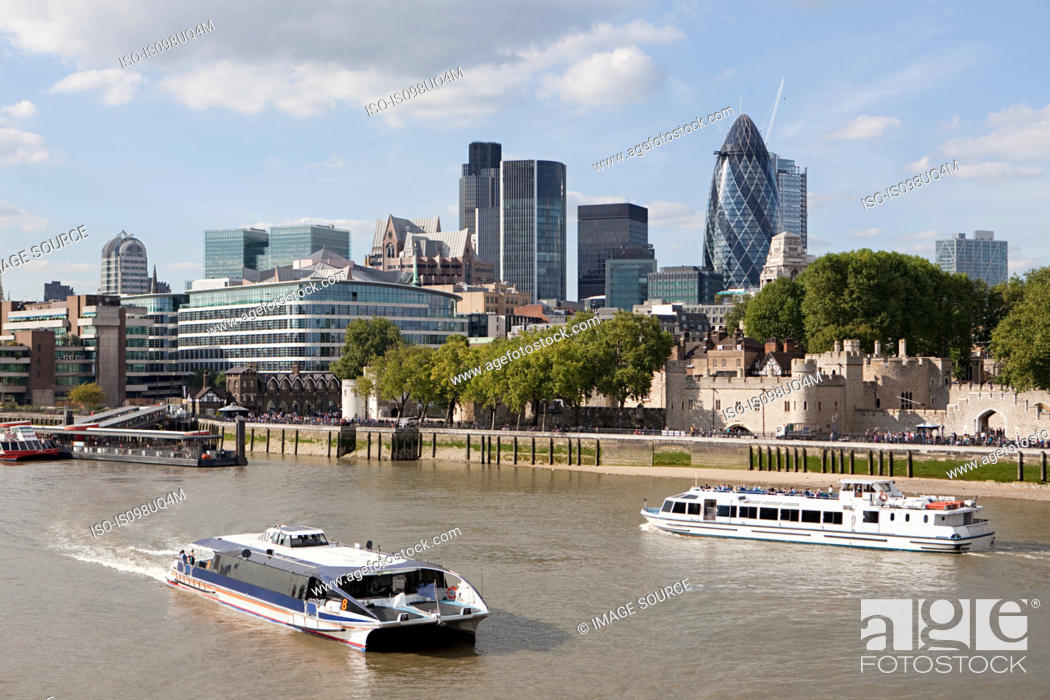 Stock Photo: River Thames, City and Tower of London.
