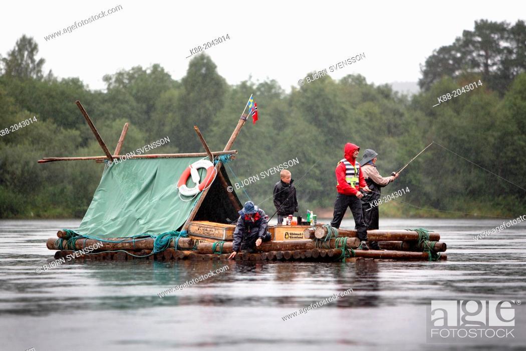Stock Photo: Timber rafting on Klar Alven. Varmland, Sweden.