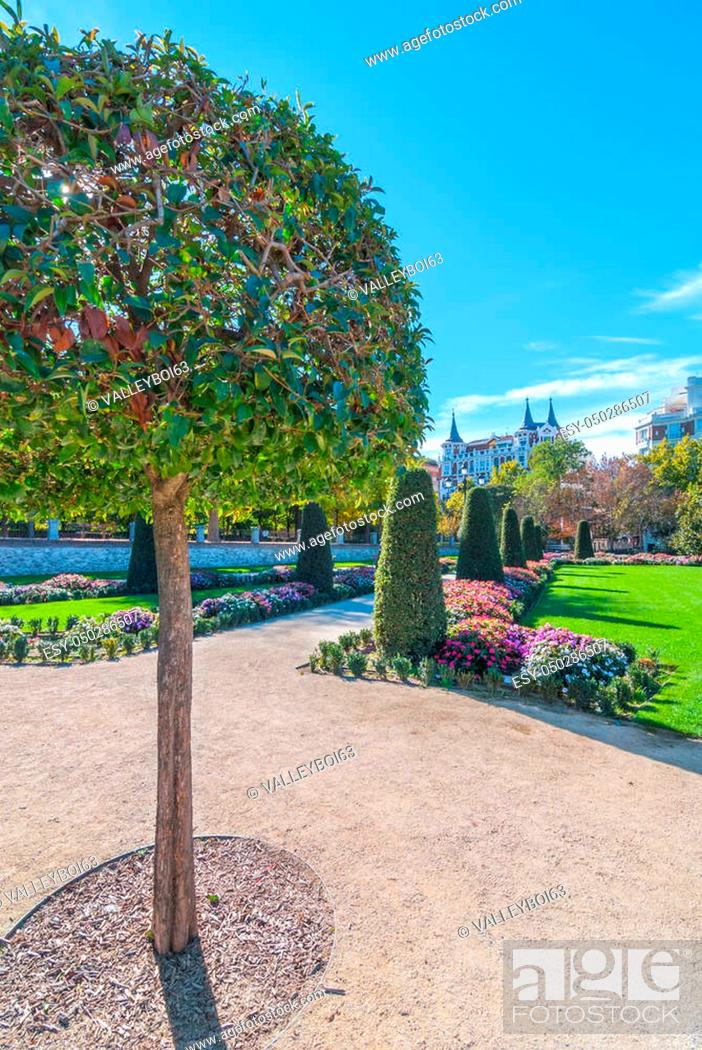 Stock Photo: Warm Autumn day in the beautiful gardens of flowers, shrubs, trees and green space of Retiro Park of Madrid, Spain. Bright sunshine on unusually warm November.