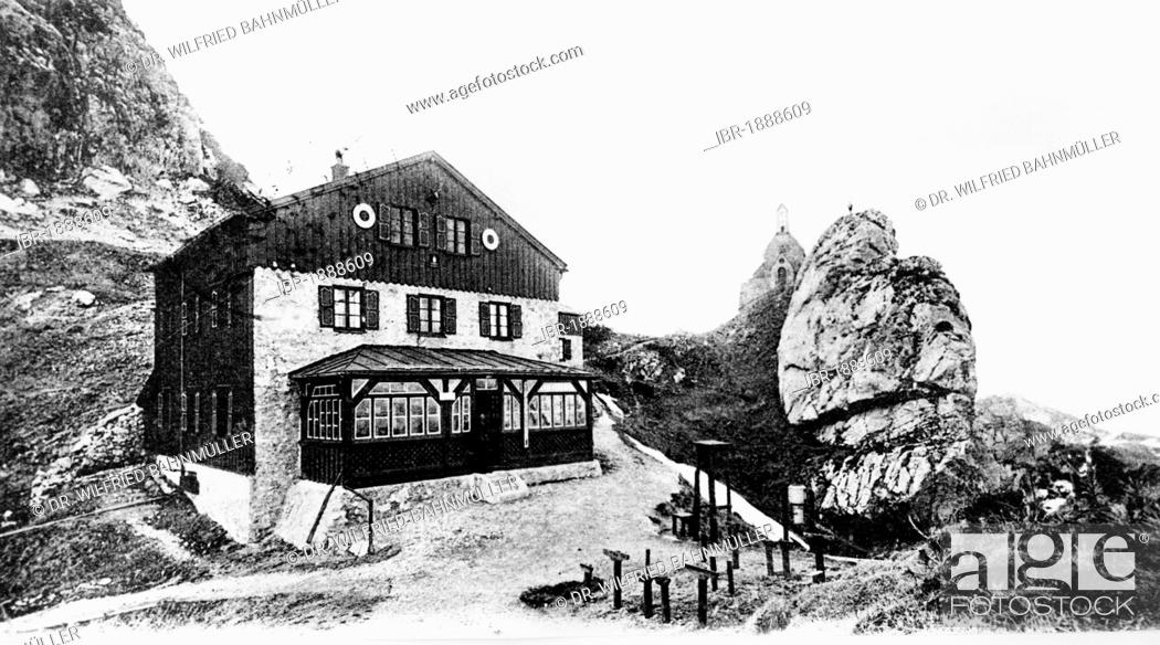 Stock Photo: Mountain lodge with Wendelstein chapel, Wendelstein, Upper Bavaria, Germany, Europe, historical postcard, about 1900.