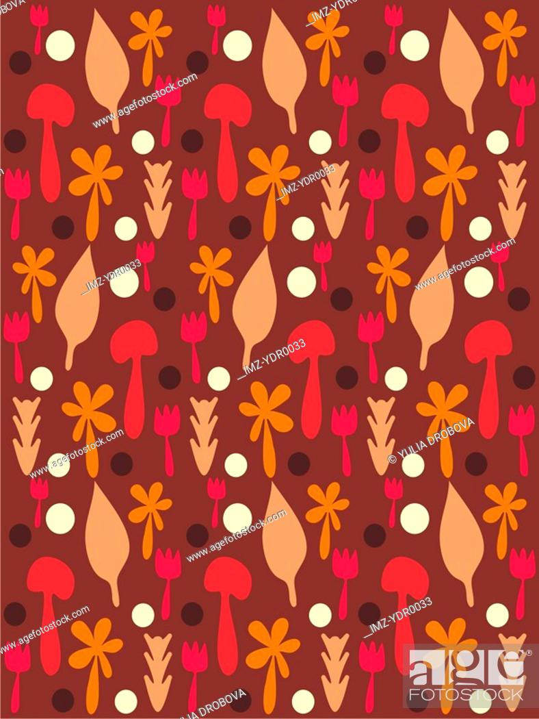Stock Photo: A pattern of forks, leaves and mushrooms.
