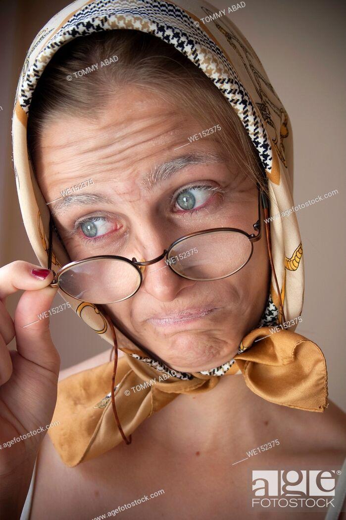 Stock Photo: Granny fx, make up lessons.
