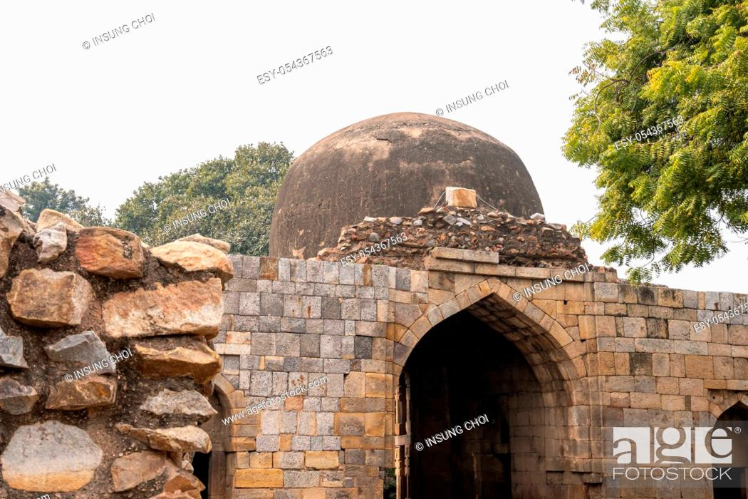 Stock Photo: khalji madrasa or islamic school located in qutub minar complex in new delhi, india.