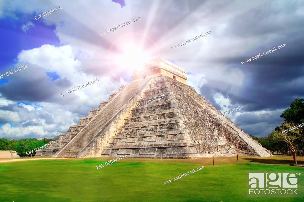 Stock Photo: Chichen Itza Kukulkan Mayan pyramid sun beam Mexico Yucatan.