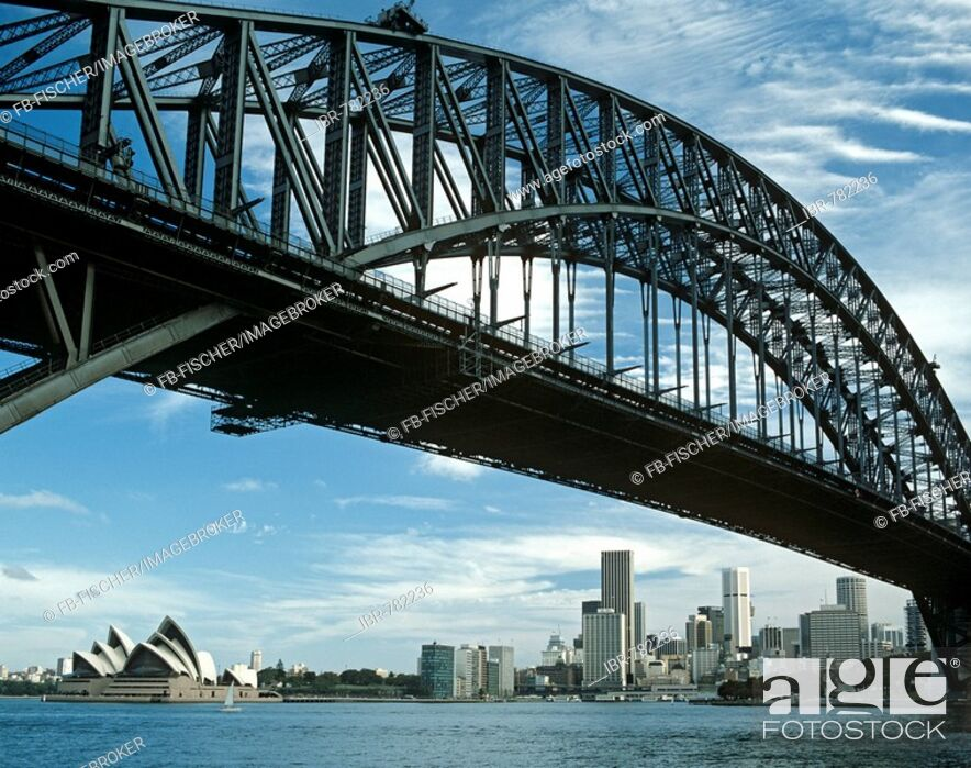 Stock Photo: Harbour Bridge, Opera House, Sydney, New South Wales, Australia.