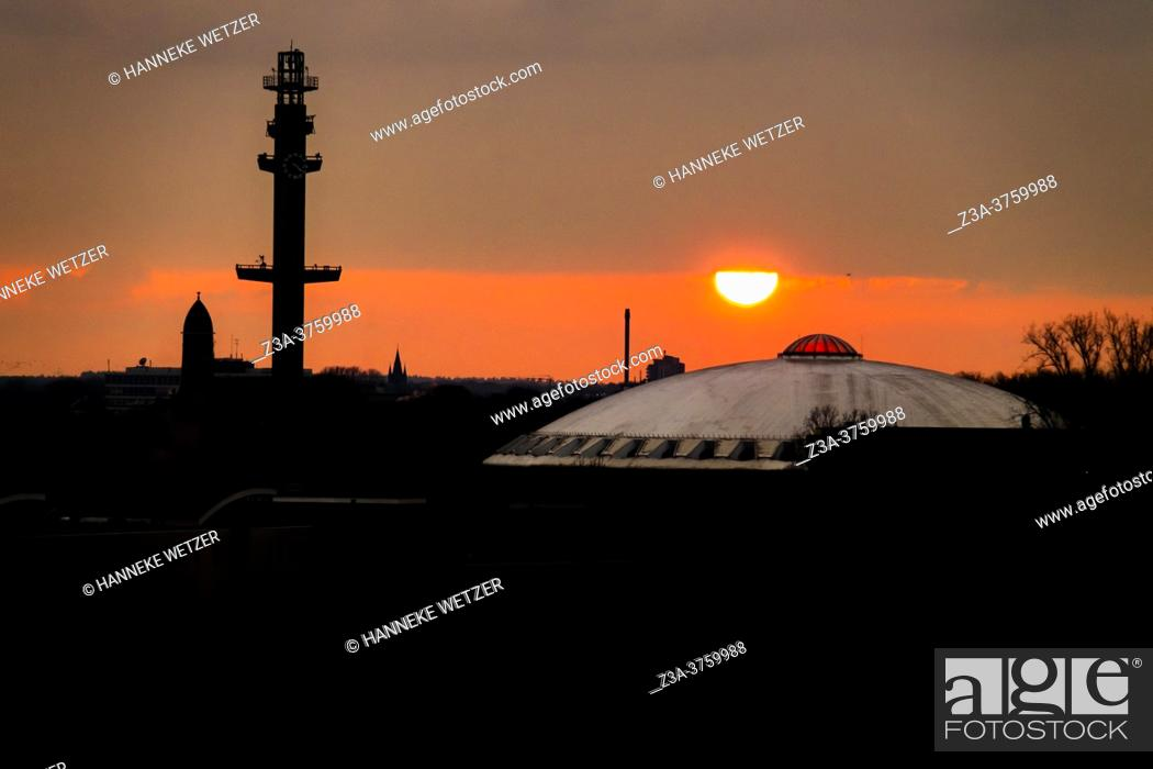 Stock Photo: Evoluon building at sunset, Eindhoven, Europe, The Netherlands.