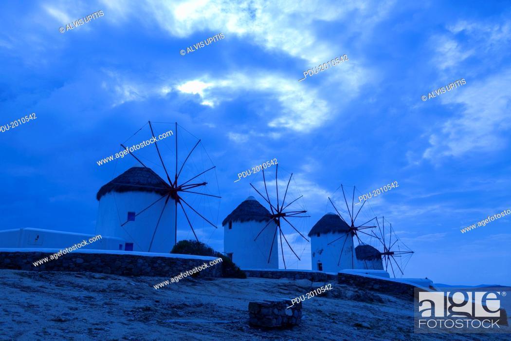 Stock Photo: Windmills at Mykonos, Greece.