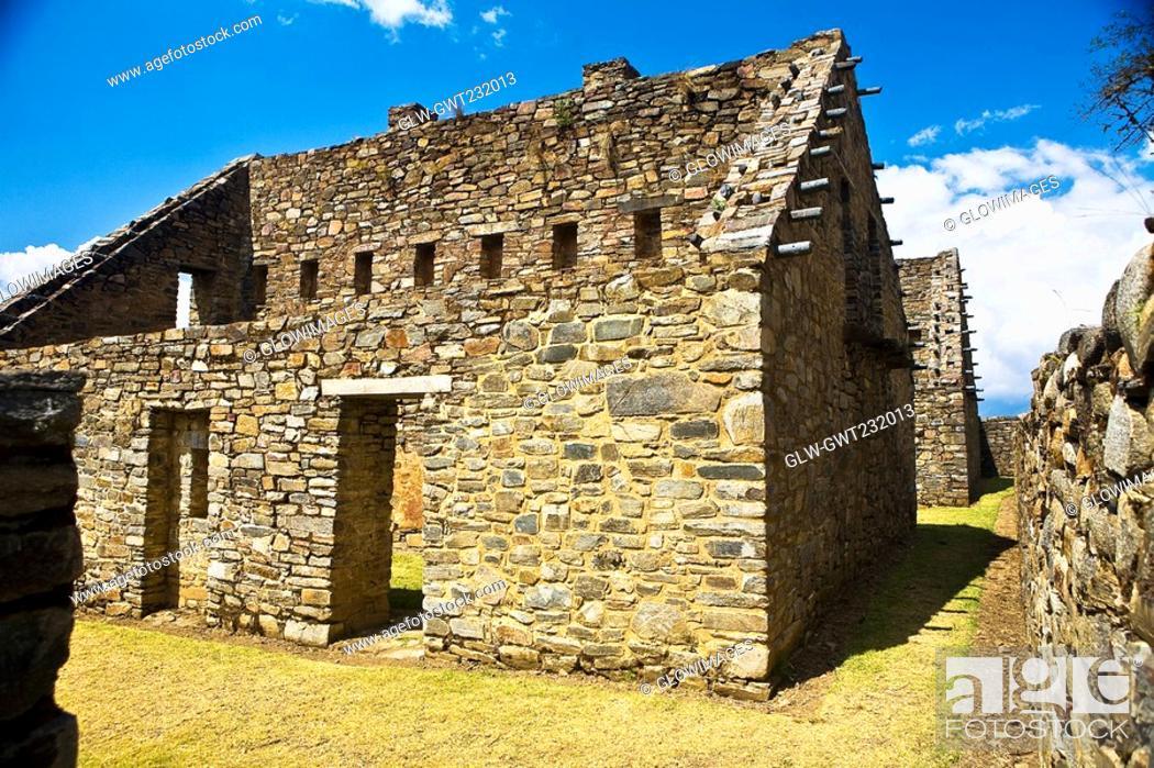 Stock Photo: Old ruins of buildings, Choquequirao, Inca, Cusco Region, Peru.