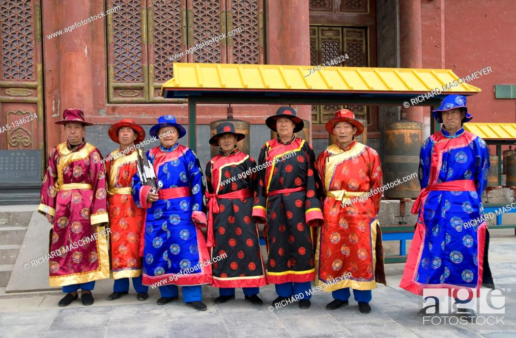 Stock Photo: Chinese musicians in traditional costumes, Puning Temple, Chengde, China.